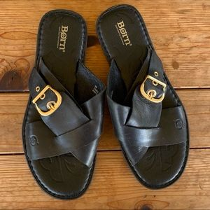 Born black leather cross-strap sandals - 9